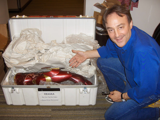 Alan Fine with a part of the actual Ironman costume worn by Robert Downey Jr. at Paramount Pictures.