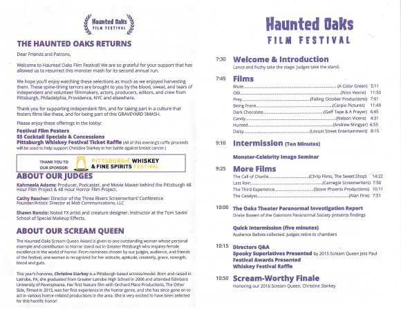 Haunted Oaks Film Festival Program (inside)